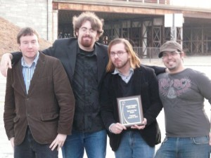 Shryne (L-R Alex Tirrell, Jon Brennan, Anthony Mattera, Jeff Cruz) after winning Band of the Year from Limelight Magazine in January 2010.