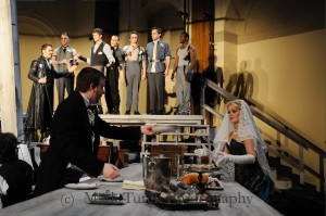 Alex (music director/piano/conductor) in an unspoken scene with Jaselyn Blanchard in Trinity Rep/Brown University's production of The Threepeny Opera in May 2011. Photo Courtesy of Mark Turck Photography.
