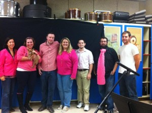Alex with orchestra members (and Bruiser!) from Legally Blonde, October 2012. Photo Courtesy of Elana Lorance.