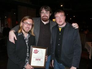 (L-R) Anthony Mattera, Jon Brennan, and Alex Tirrell of Shryne after winning Motif Magazine's Break Through Band of the Year in 2010.