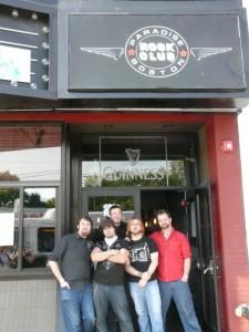 Shryne (L-R, Jon Brennan, Jeff Cruz, Alex Tirrell, Anthony Mattera, Andrew Sharp) prior to their show at the Paradise Rock Club in Boston, MA in May 2009. Photo by Kari Tieger.