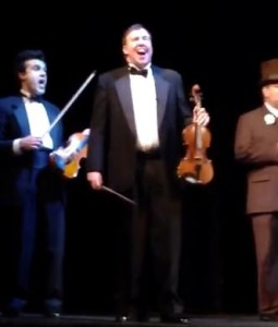 Alex appearing as bandleader Wallace Hartley in Titanic the Musical, May 2013.